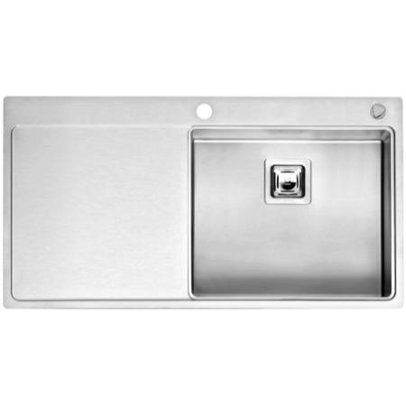 Reginox NEVADA50-LHD 1.0 Bowl Square Integrated Stainless Steel Sink With Tap Deck And Left Hand Dra