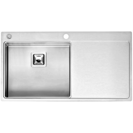 Reginox NEVADA50-RHD 1.0 Bowl Square Integrated Stainless Steel Sink With Tap Deck And Right Hand Dr