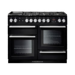 Rangemaster 104850 Nexus 110cm Black And Chrome Dual Fuel Range Cooker