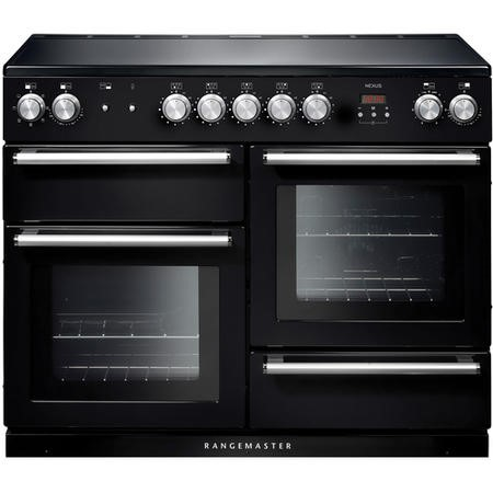 Rangemaster NEX110EIBL/C 104830 Nexus 110cm Electric Range Cooker With Induction Hob Black Chrome