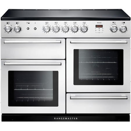 Rangemaster NEX110EIWH/C 106170 Nexus 110cm Electric Range Cooker With Induction Hob White Chrome