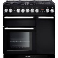 Rangemaster 104680 Nexus 90cm Dual Fuel Range Cooker Black And Chrome