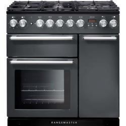 Rangemaster NEX90DFFSL/C 106120 Nexus 90cm Dual Fuel Range Cooker Slate And Chrome