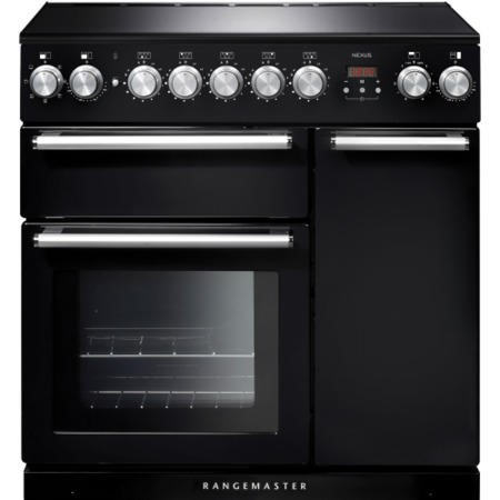 Rangemaster NEX90EIBL/C 104820 Nexus 90cm Electric Range Cooker With Induction Hob Black Chrome