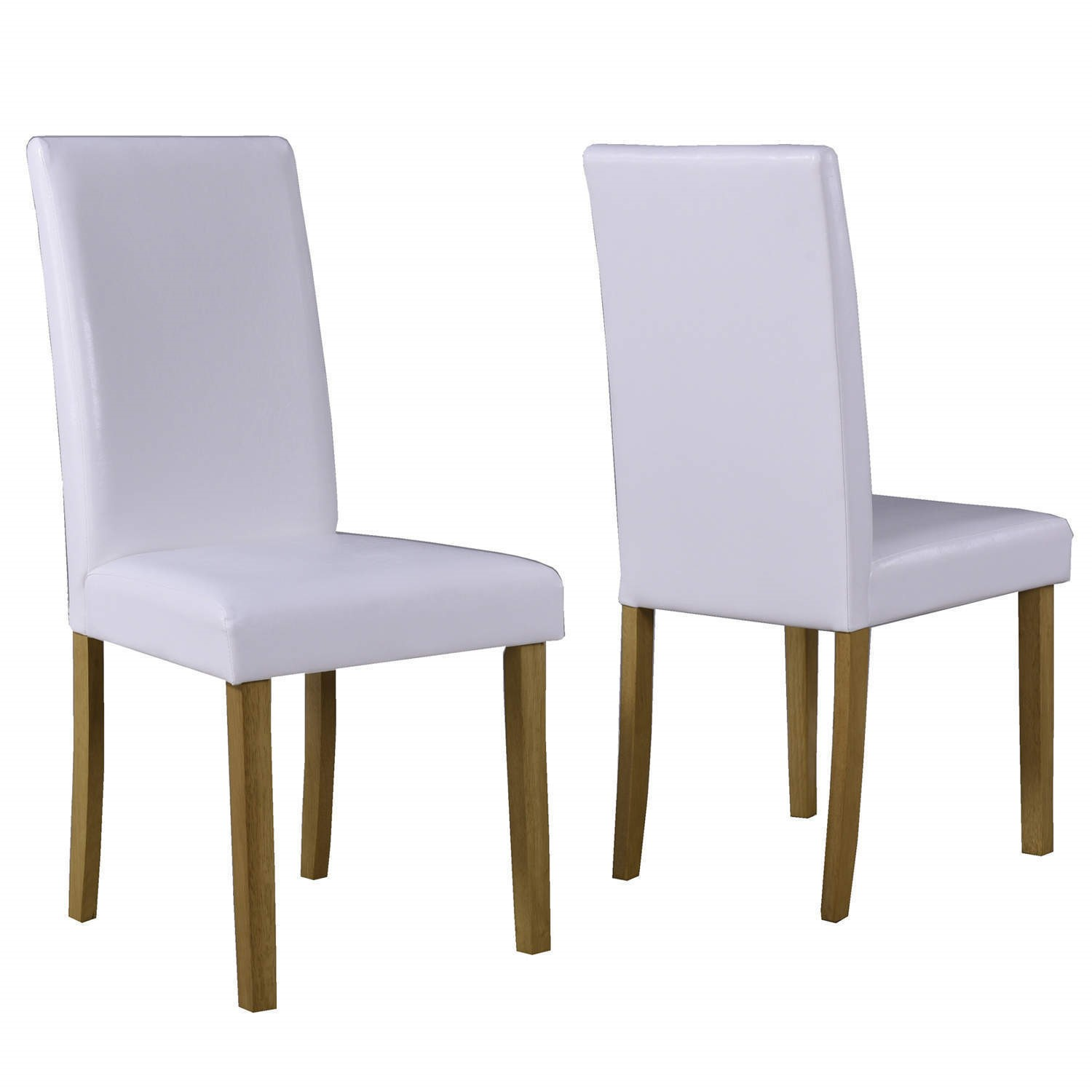 Modern Dining Room Chairs Faux Leather White Pair High