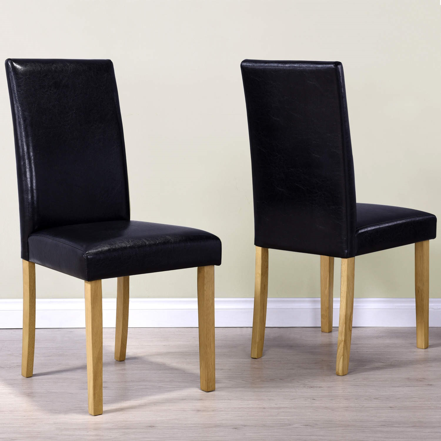 Black Pair of Faux Leather Dining Chairs with Wooden Legs ...