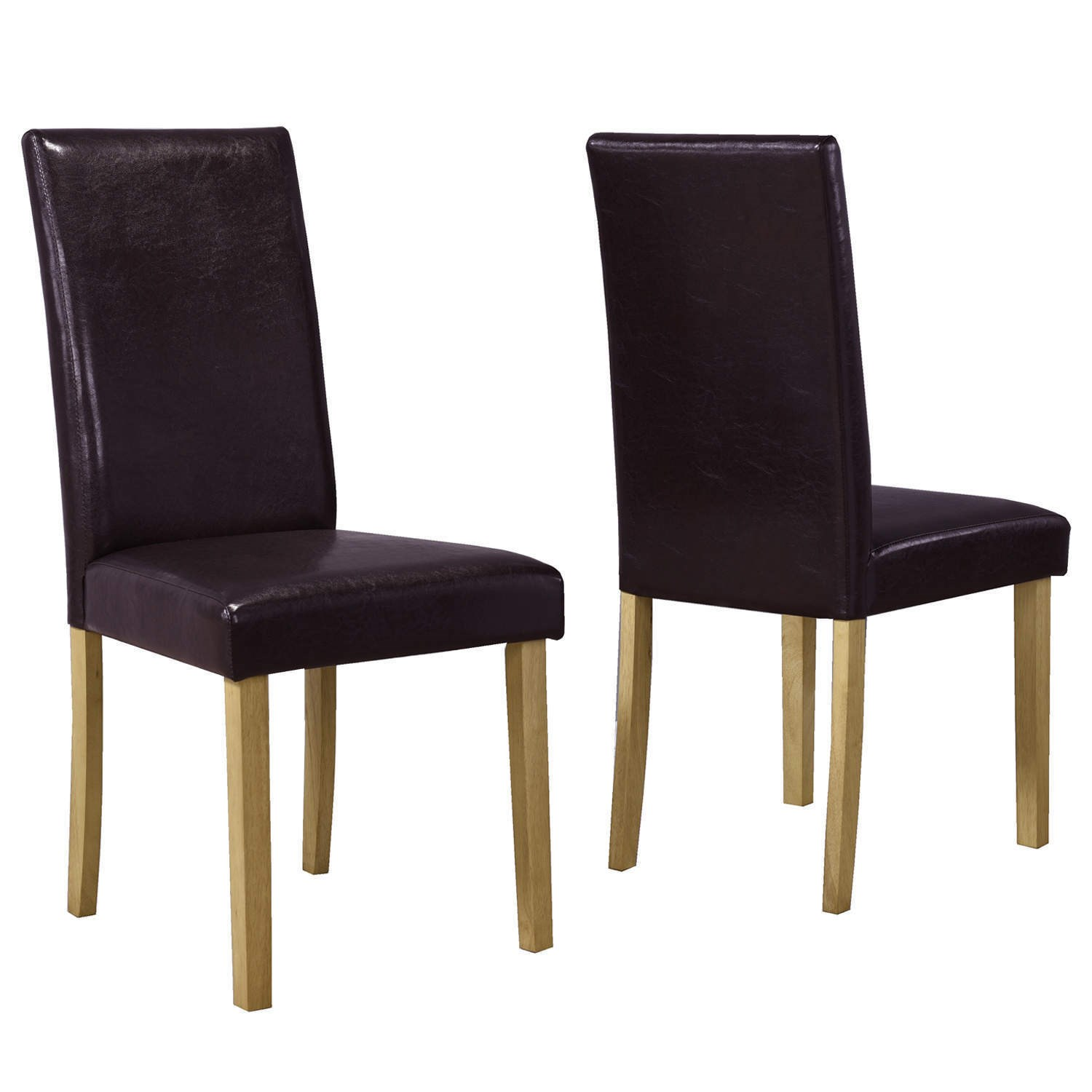 Brown Pair of Faux Leather Dining Chairs with Wooden Legs ...