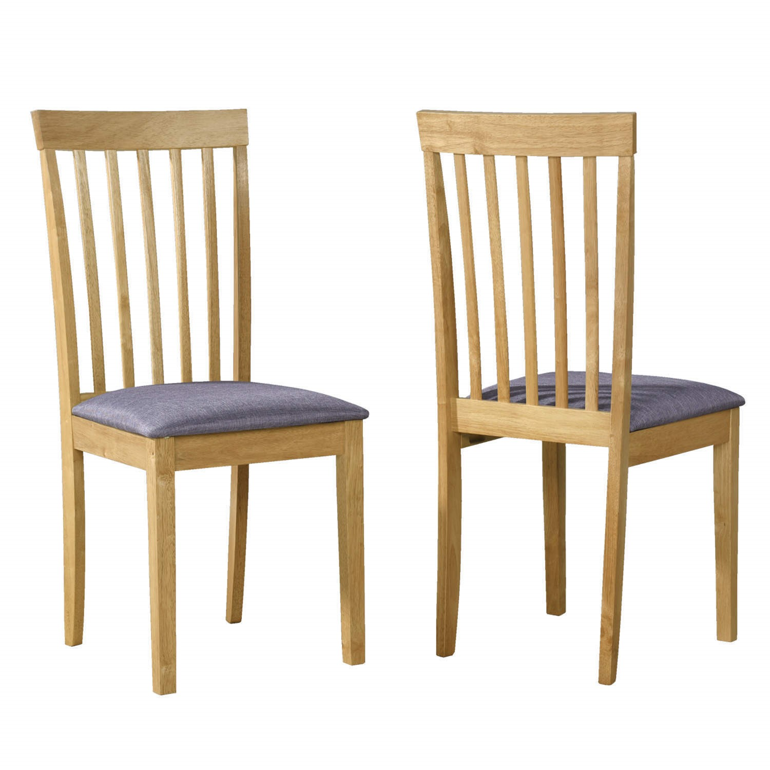 Pair Of Oak Dining Chairs Classic Slatted High Back With