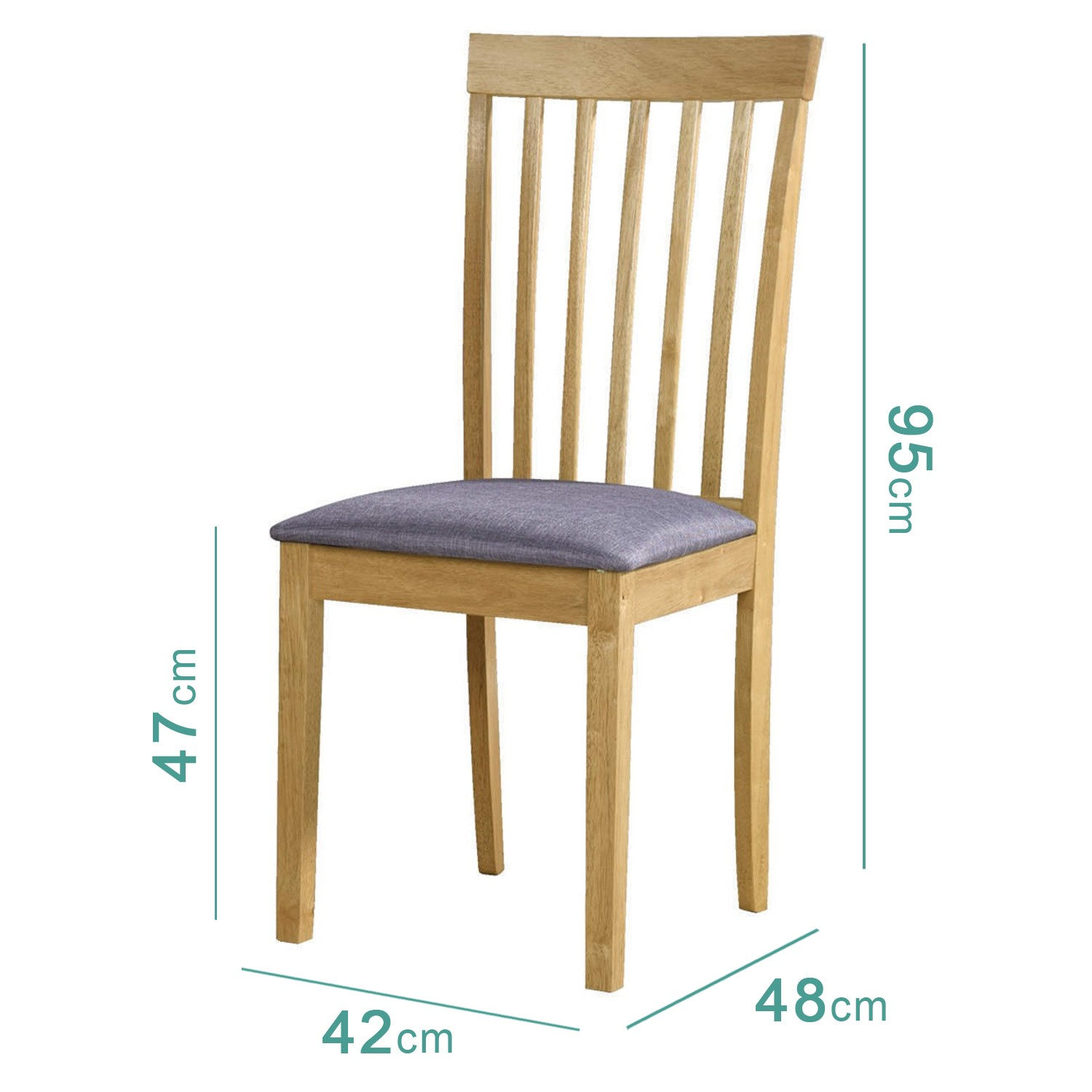 Pair of Oak Dining Chairs Classic Slatted High Back with ...