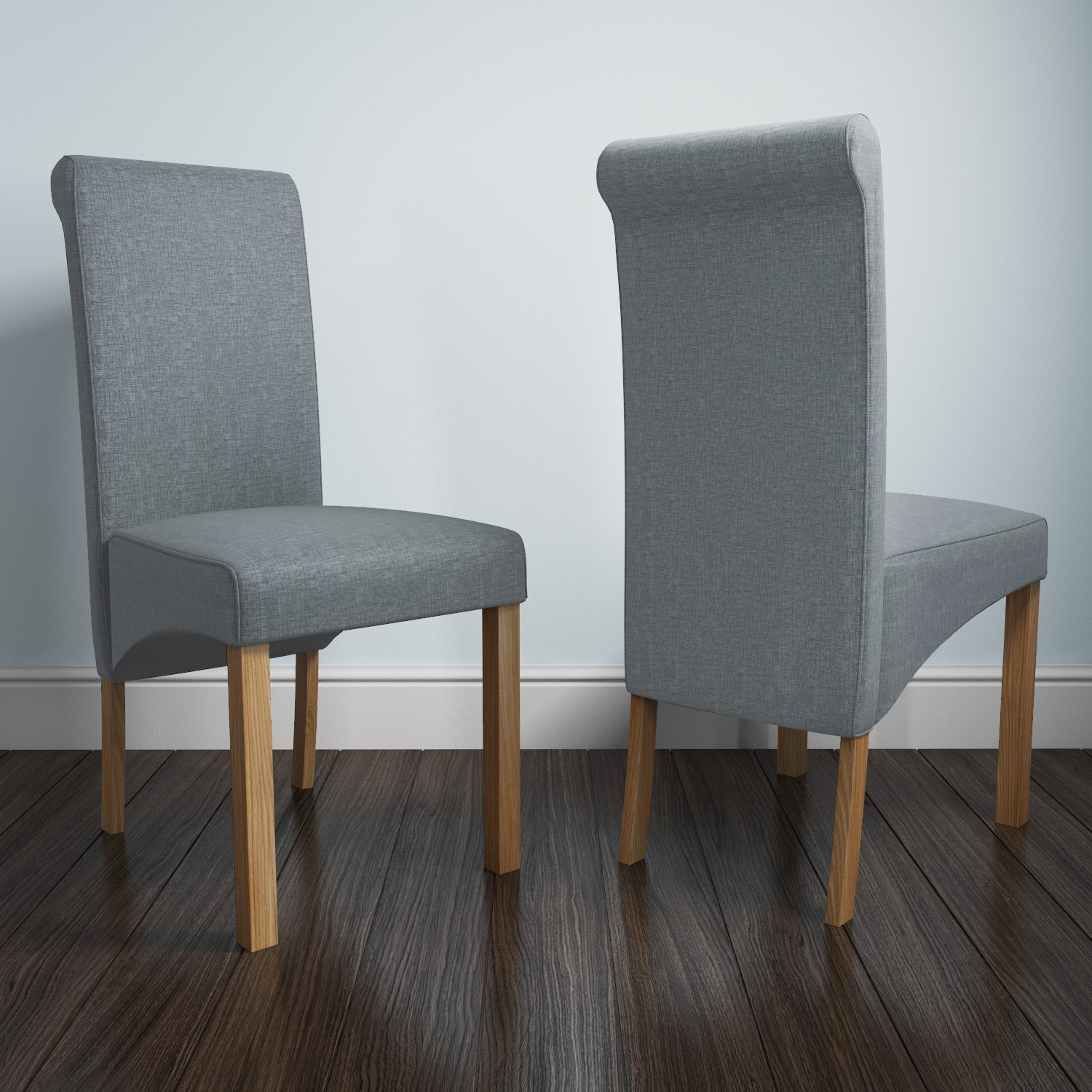 Fabric Dining Chairs in Grey with Oak Legs Home Furniture ...