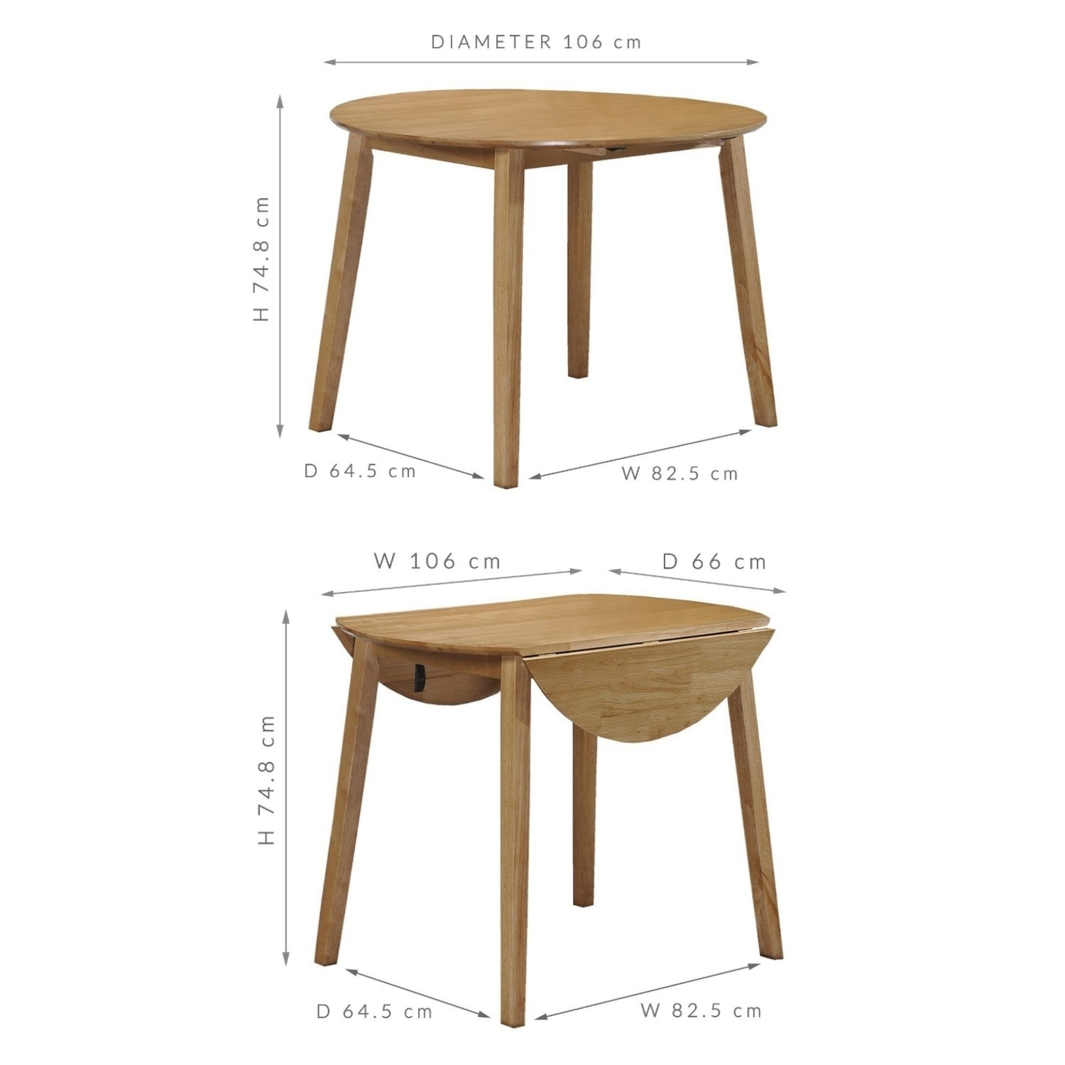 Picture of: Round Drop Leaf Dining Table In Light Oak Wood Modern Ebay