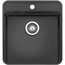 Reginox OHIO40X40TAPWINGCB Regi Color Ohio Tapwing 1.0 Bowl Black Stainless Steel Kitchen Sink