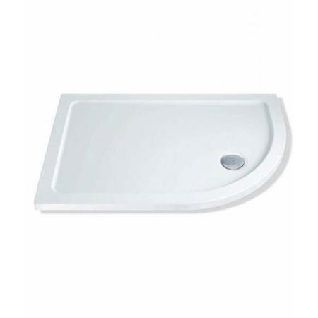 Claristone White Right Hand Shower Tray & Waste - 1000 x 800mm