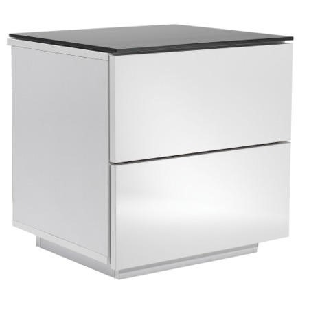 UK-CF Oslo Drawer White & Black Glass