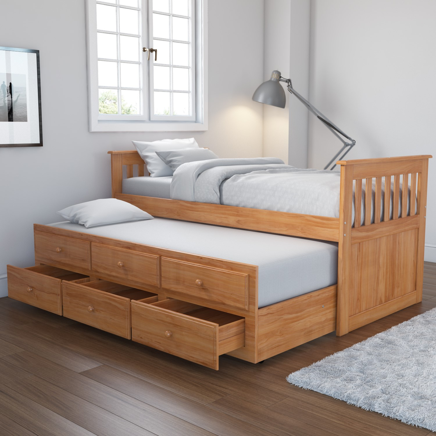 Pine Guest Bed Wood Pull Out Trundle 3 Drawer Storage