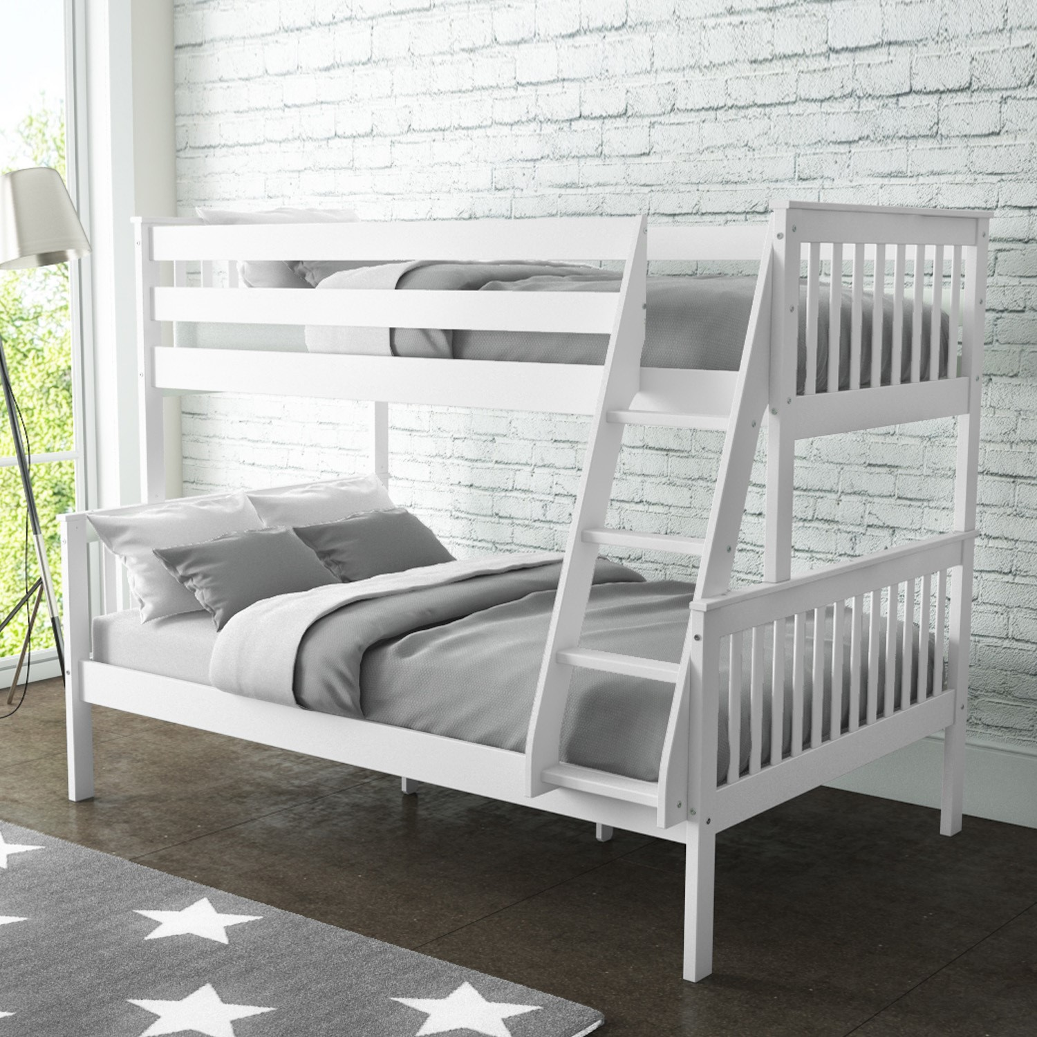 new high quality oxford triple bunk bed in white small. Black Bedroom Furniture Sets. Home Design Ideas
