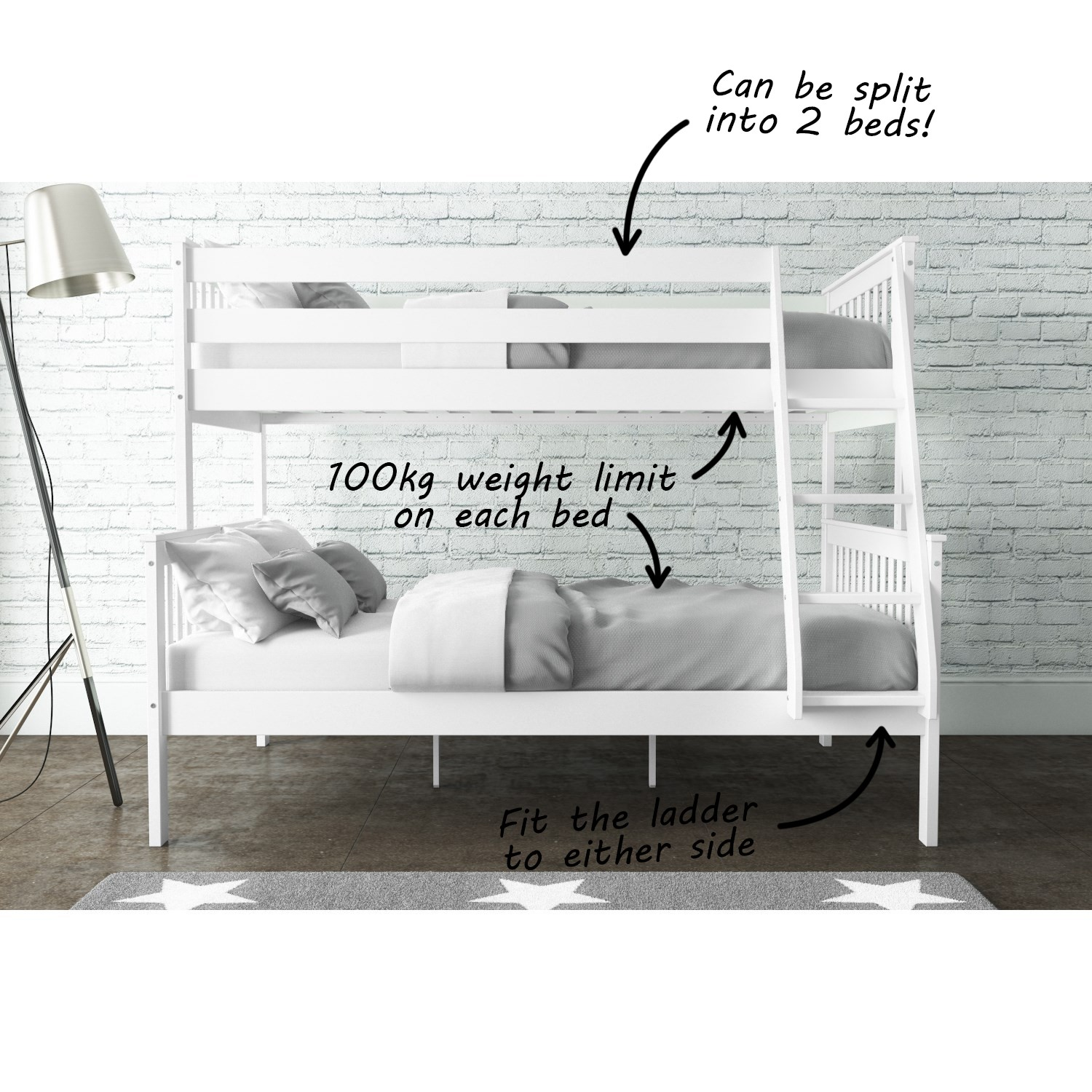 893b68edb4a New High Quality Oxford Triple Bunk Bed in White Small Double Bedroom  Furniture. New High Quality Oxford Triple Bunk Bed in White Small Double ...