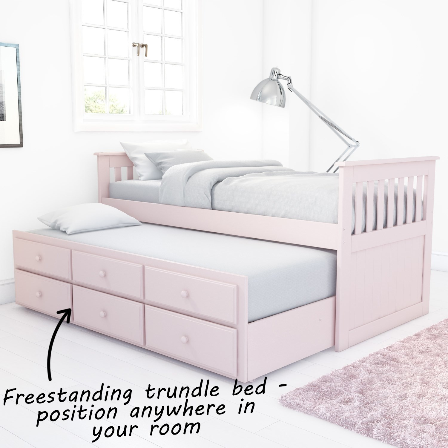 Pink Guest Bed 3ft Single With Pull Out Trundle 3 Storage