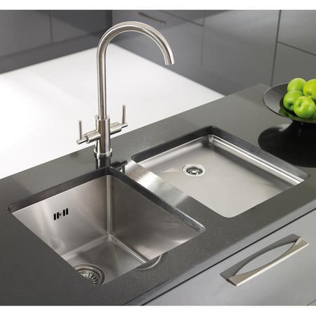 Astracast OXL1XBHOMEPK Onyx Undermount Square Single Bowl Brushed Stainless Steel Sink