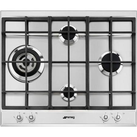 Smeg P1641XT Linea 4 Burner 60cm Gas Hob With Ultra Rapid Burner And Cast Iron Pan Stands Stainless Steel