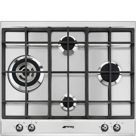 Smeg P361XGH 60cm Classic Stainless Steel 4 Burner Gas Hob with Ultra Rapid Burner
