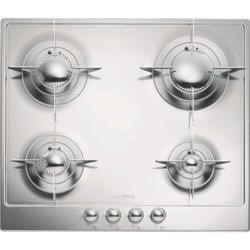 Smeg P64ES 60cm Polished Stainless Steel Piano Design 4 Burner Gas Hob with Evershine