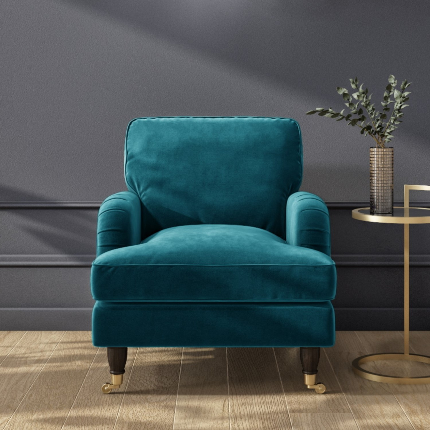 Teal Blue Velvet Armchair - Payton PAY001 | eBay