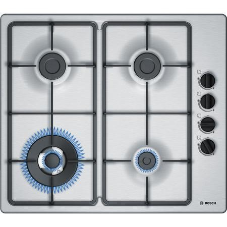 Bosch PBH6B5B60 58cm Four Burner Gas Hob With Cast Iron Pan Stands Stainless Steel
