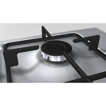BOSCH PBH6B5B60 Serie 2 58cm Four Burner Gas Hob With Cast Iron Pan Stands Stainless Steel