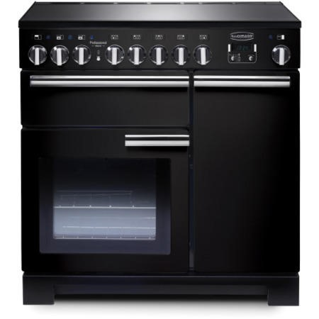 Rangemaster 97870 Professional Deluxe 90cm Electric Range Cooker With Induction Hob - Gloss Black