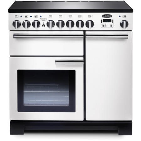 Rangemaster 98740 Professional Deluxe 90cm Electric Range Cooker With Induction Hob - White