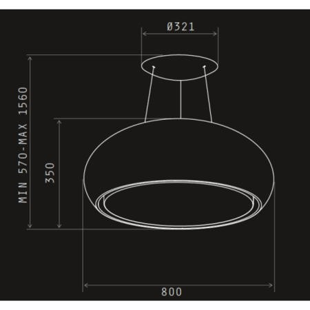 Elica PEARL-WH 80cm Ceiling Mounted Island Decorative Cooker Hood