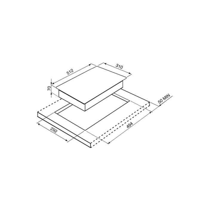 Smeg PGF31G-1 30cm Domino Single Burner Ultra Low Profile