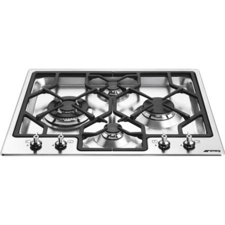 GRADE A1 - Smeg PGF64-4 Classic Ultra Low Profile 60cm Gas Hob in Stainless Steel