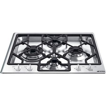 Smeg PGF64SC Linea Ultra Low Profile 60cm Gas Hob Stainless Steel