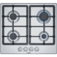 Bosch PGP6B5B90 58cm Four Burner Gas Hob With Cast Iron Pan Stands - Stainless Steel