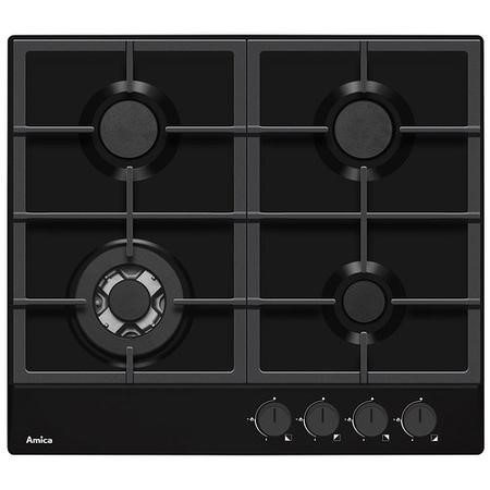 Amica PGZ6412B 60cm Four Burner Gas Hob With Cast Iron Pan Supports - Black