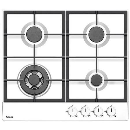Amica PGZ6412W 60cm Four Burner Gas Hob With Cast Iron Pan Supports - White