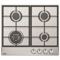 Amica PGZ6412 60cm Four Burner Gas Hob With Cast Iron Pan Supports - Stainless Steel
