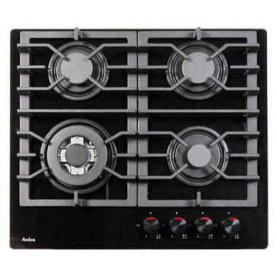 Amica PHCZ6511 60cm Four Burner Gas On Glass - Black