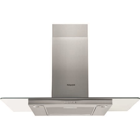 Hotpoint PHFG94FLMX 90cm Flat Glass Chimney Cooker Hood - Stainless Steel