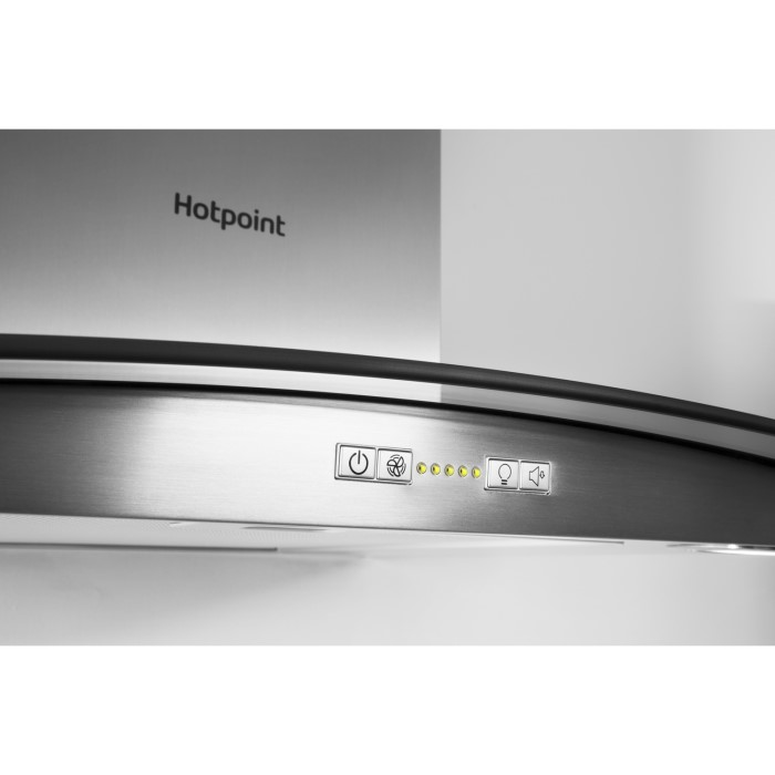 Hotpoint PHGC75FABX 70cm Chimney Cooker Hood Stainless Steel With Curved Glass Canopy