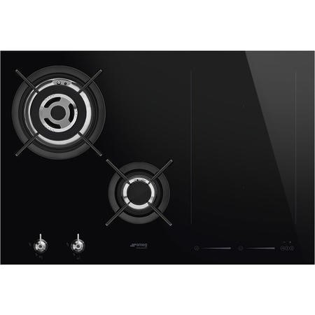 Smeg PM3721WLD 75cm Classic Mixed Fuel Hob 2 Gas Burners 1 Induction Multizone with Straight Edge Gl