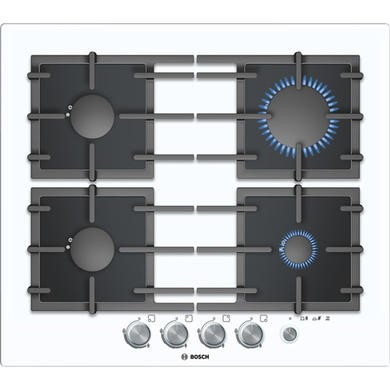 PPP612M91E Bosch PPP612M91E Exxcel Glass Base 59cm Gas Hob in White