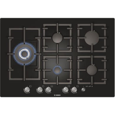 PPS816M91E Bosch PPS816M91E Exxcel Frameless 75cm Gas-on-glass Hob - Black
