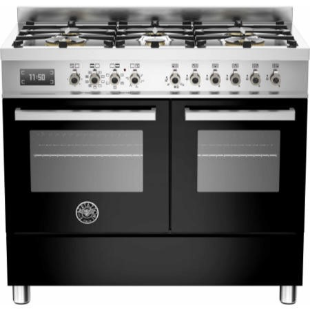 Bertazzoni PRO100-6-MFE-D-NET Professional Series 100cm Dual Fuel Range Cooker With A Double Oven-Bl