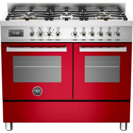 Bertazzoni PRO100-6-MFE-D-ROT Professional 100cm Dual Fuel Range Cooker With 6 Burners And Two Ovens