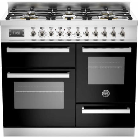 Bertazzoni PRO100-6-MFE-T-NET Professional Series 100cm Dual Fuel Range Cooker With A Triple Oven-Bl