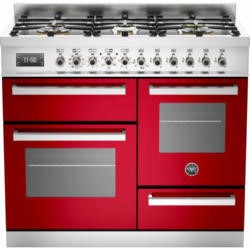 Bertazzoni PRO100-6-MFE-T-ROT Professional 100cm Dual Fuel Range Cooker With 6 Burners Two Ovens And