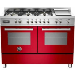Bertazzoni PRO120-6G-MFE-D-ROT Professional 120cm Dual Fuel Range Cooker With 6 Burners And Two Oven